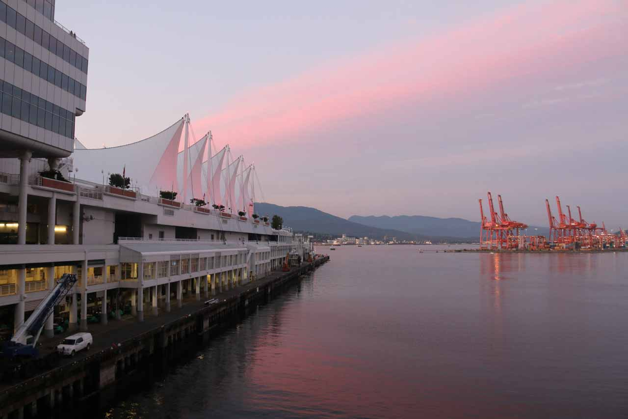 Sunset at the Olympic part of Vancouver's Waterfront