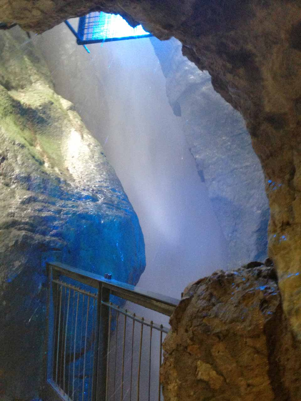 View of the Cascata del Varone from the upper cave but this time with blue floodlighting