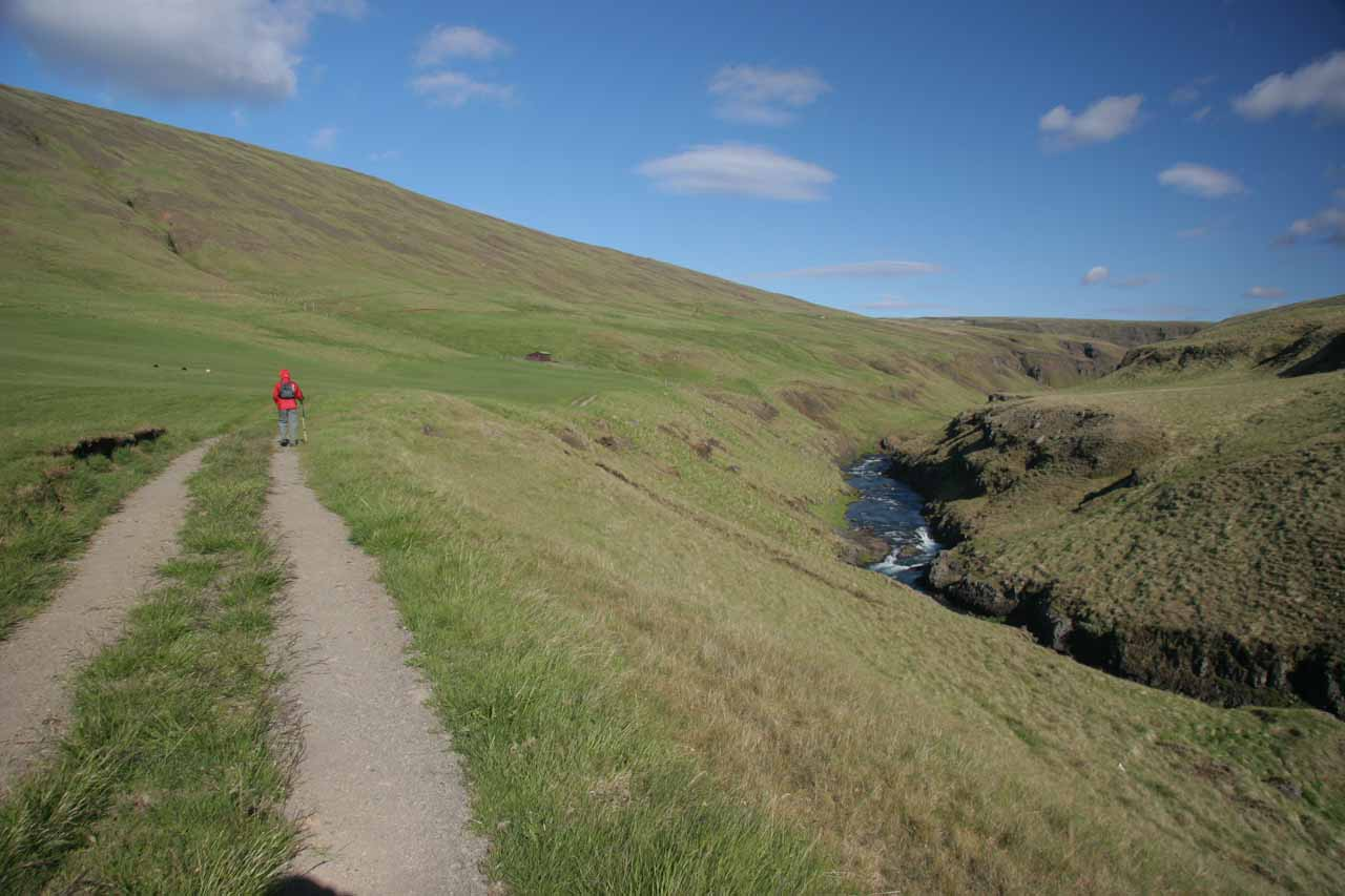 The trail initially started above the river
