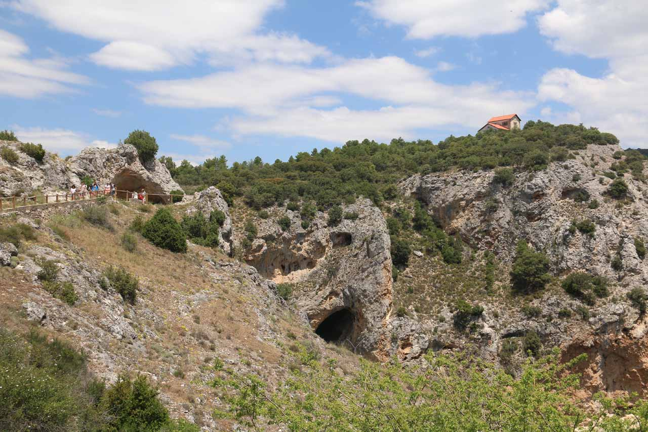 The rugged gorge scenery with an interesting home standing alone atop the gorge near Ventano del Diablo