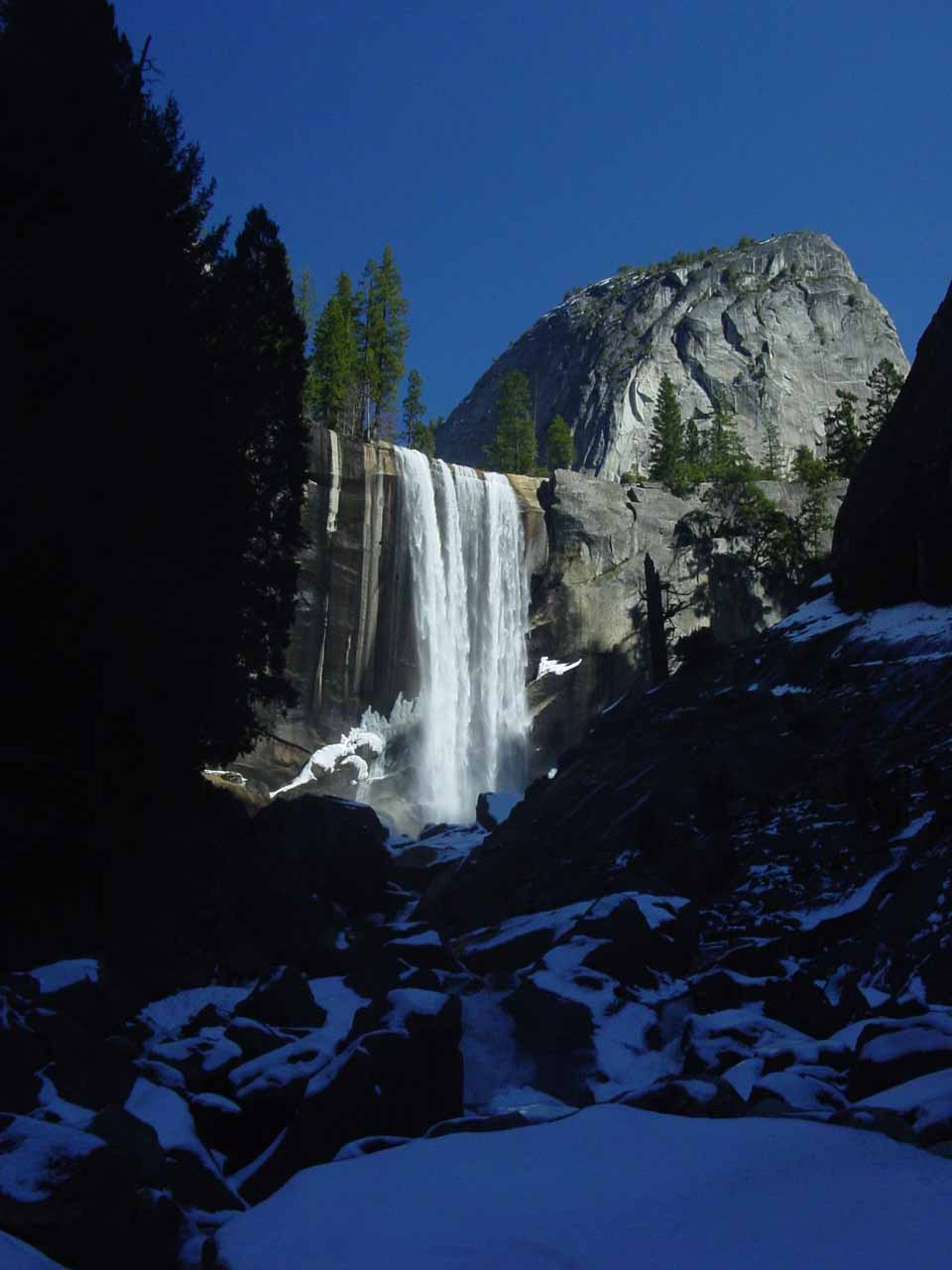 The view of Vernal Fall from near Lady Franklin Rock with lots of snow in February 2006