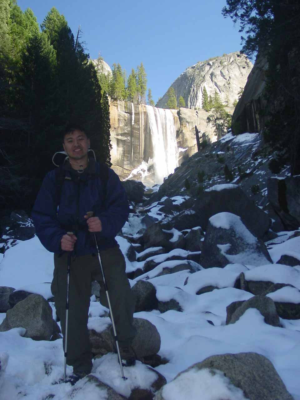 That's me in Yosemite in the Winter time and earning an income blogging about it on the World of Waterfalls