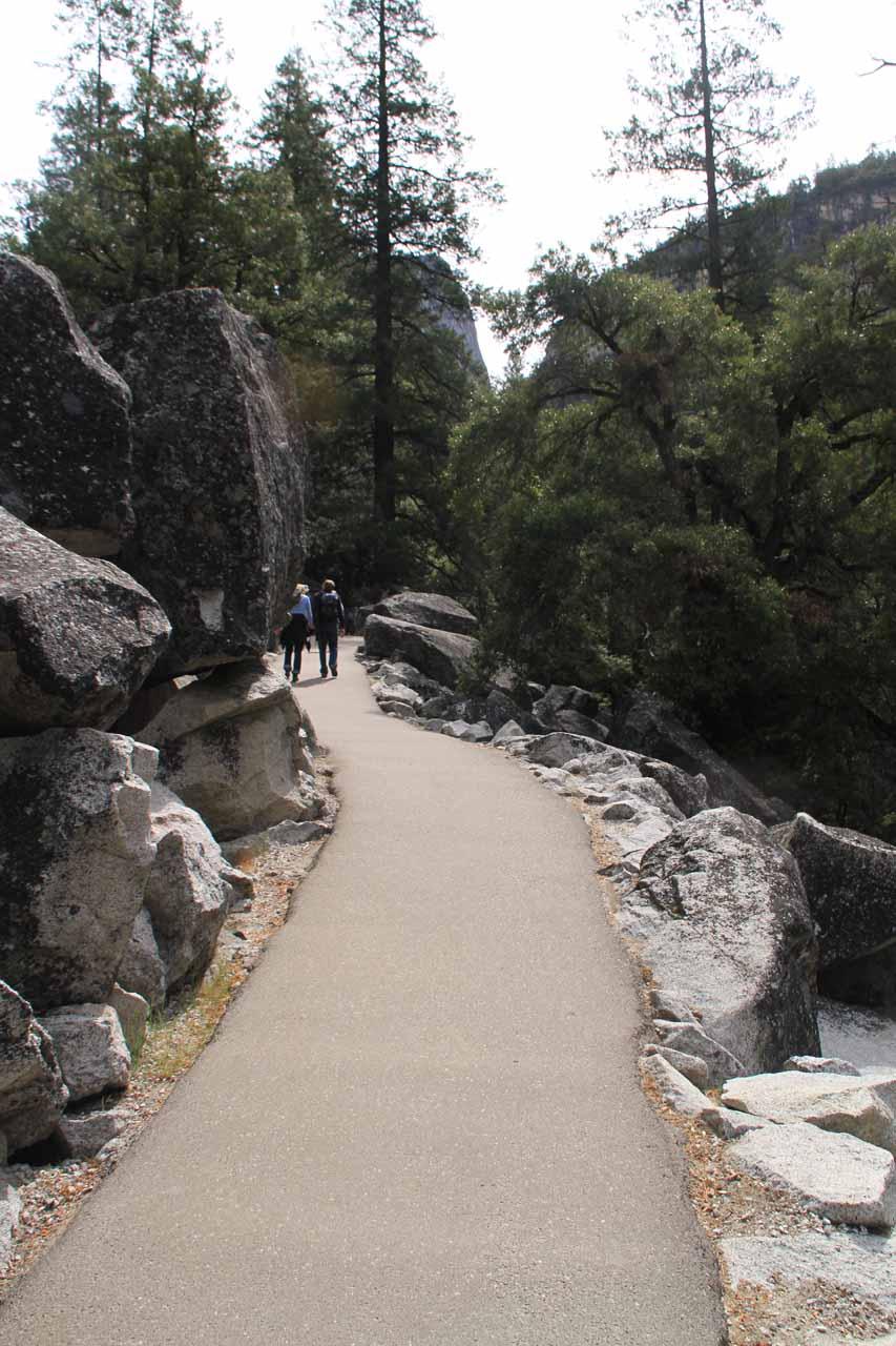 First portion of hike to Vernal Fall is paved