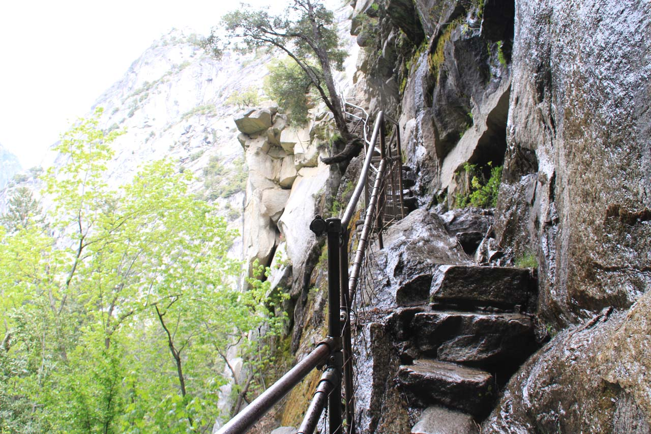 Narrow and steep granite steps leading up to the top of Vernal Fall