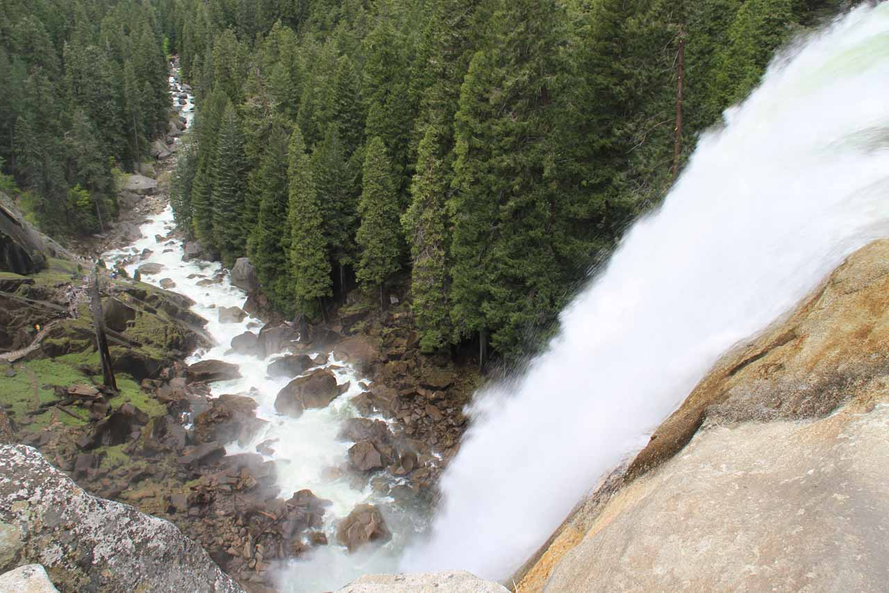 Looking down over the brink of Vernal Fall