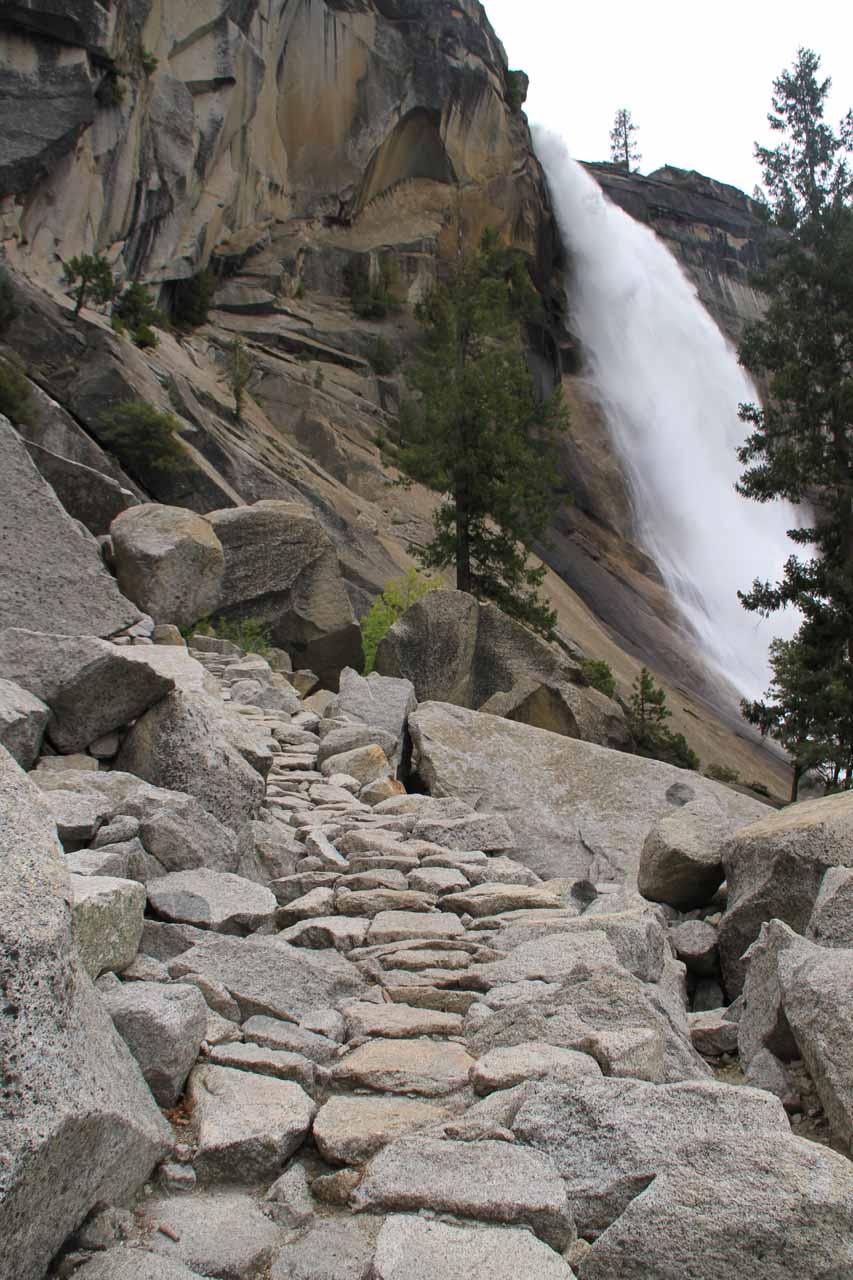 Ascending the Mist Trail alongside the waterfall
