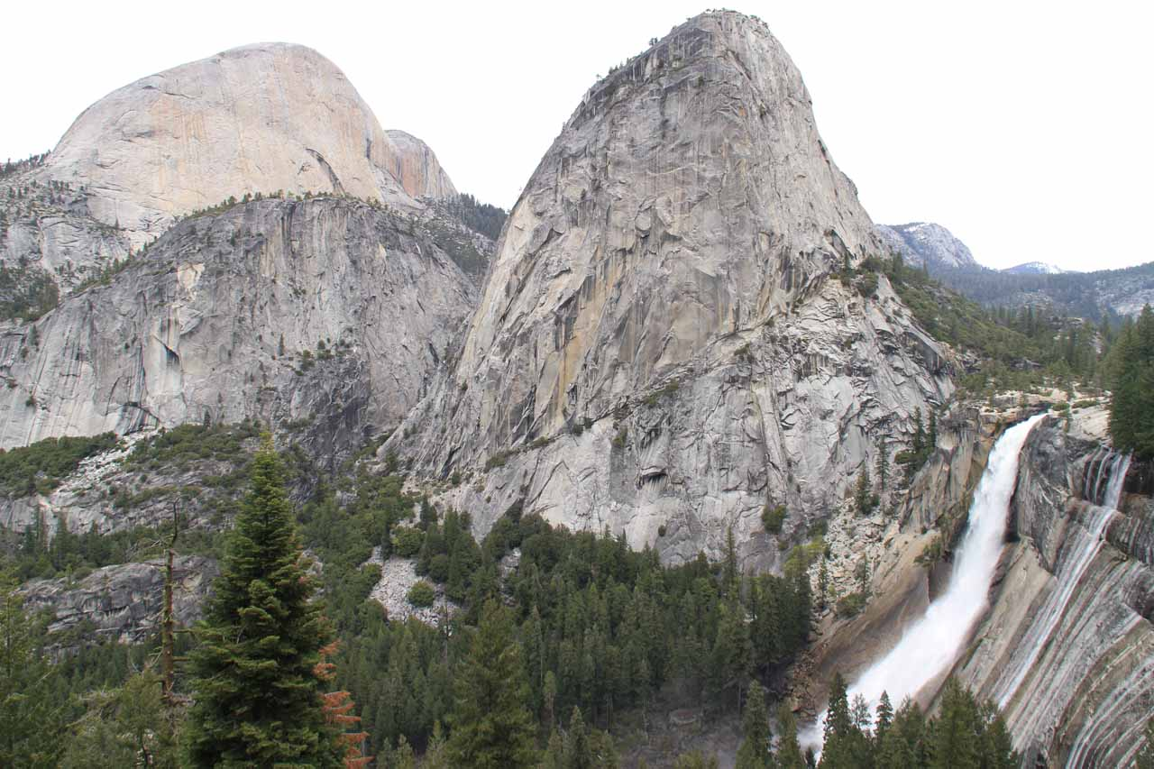 Half Dome, Liberty Cap, and Nevada Falls from the Panorama Cliffs section (taken in June 2011)