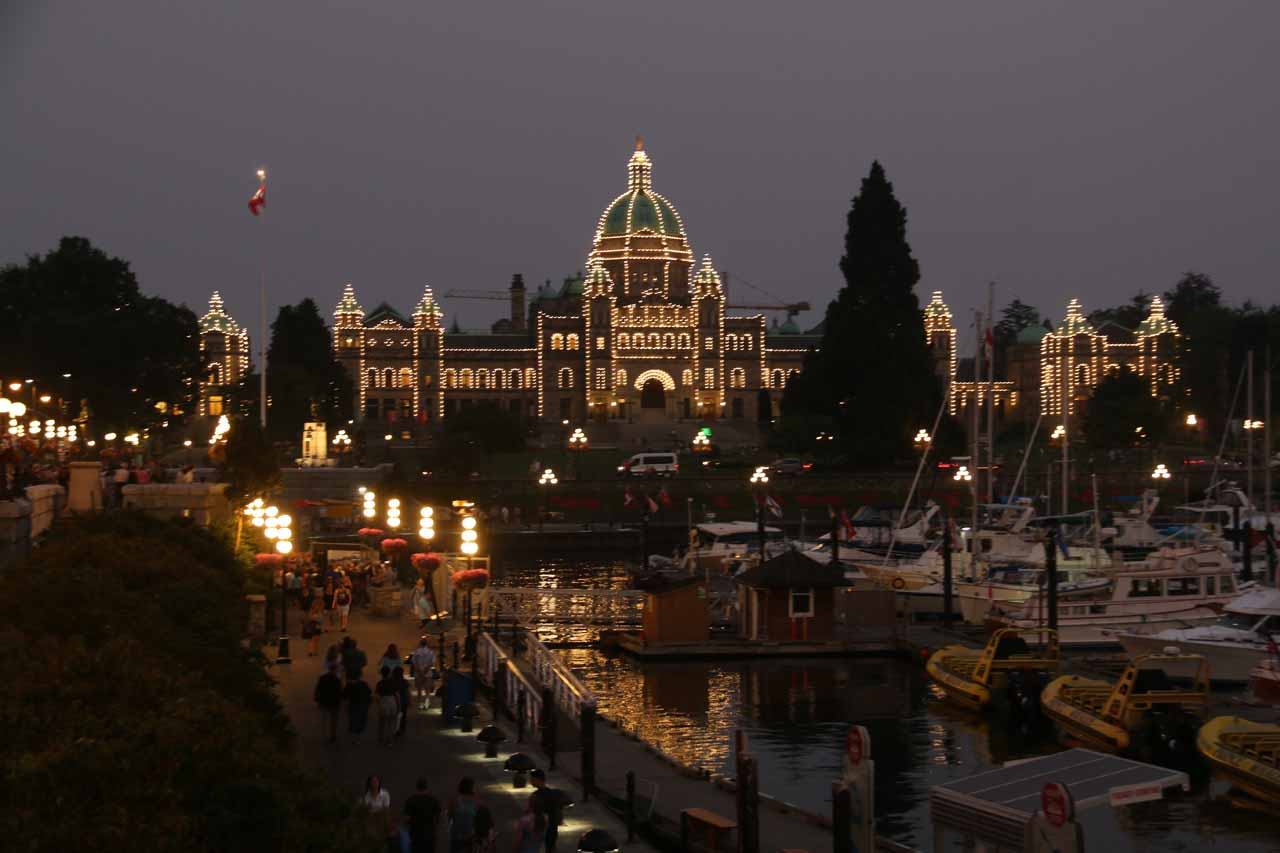 It was around 66km (over an hour drive) from Victoria to Sandcut Beach. Victoria Harbour was the main tourist spot of downtown Victoria