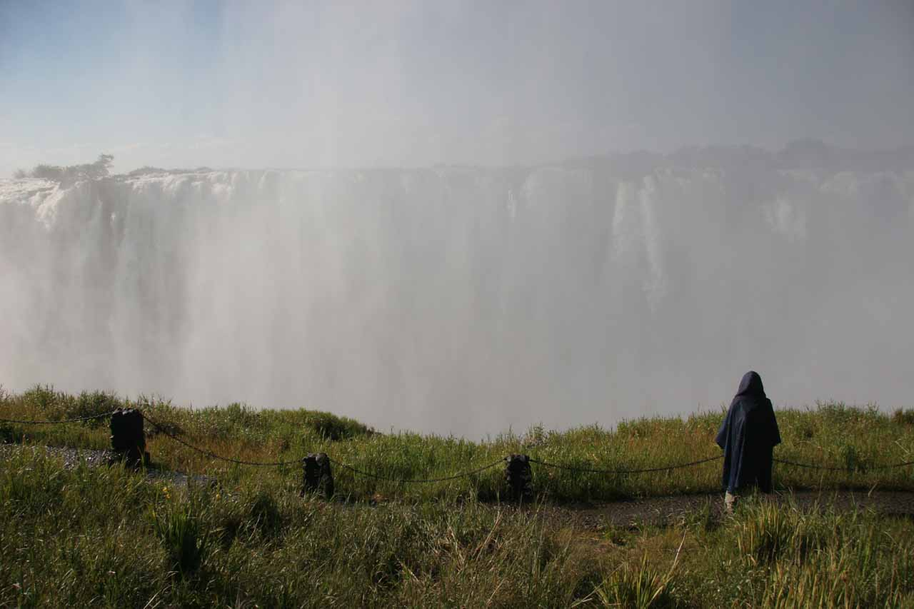 Looking at the mist-laden waterfall
