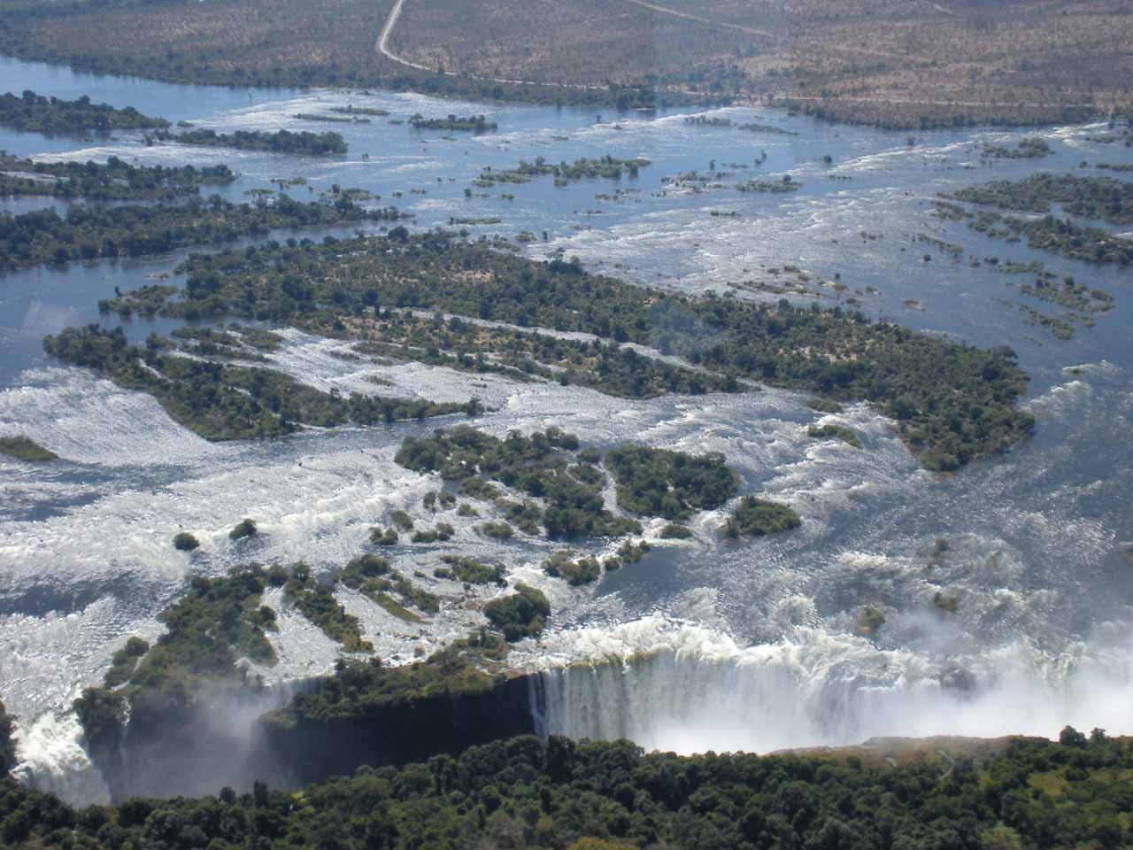 Looking at the whitewater upstream from the Vic Falls
