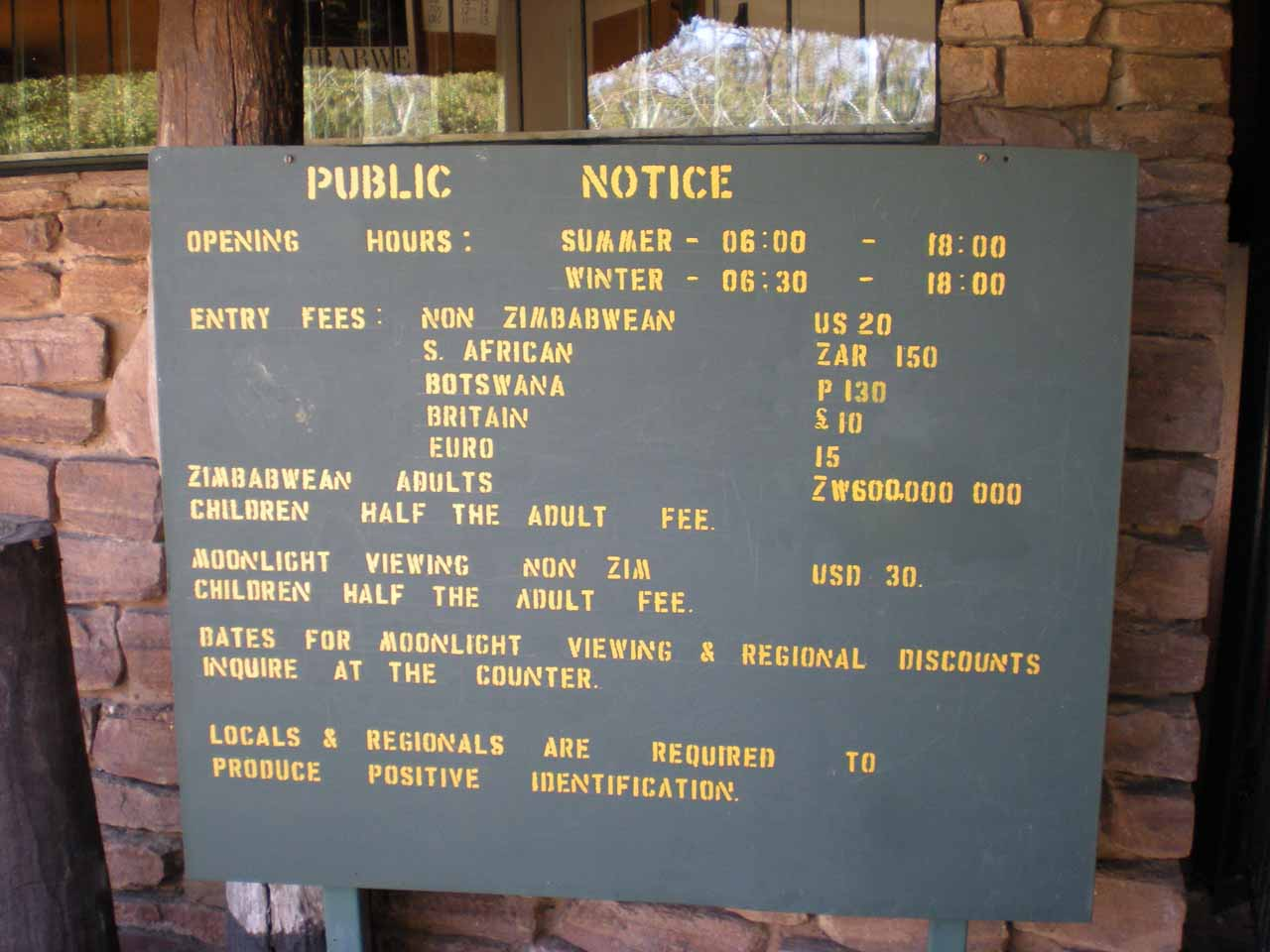 Check out how much Zimbabwean adults have to pay to get into the park