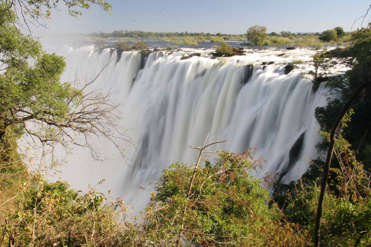 Morning view of Vic Falls from the Zam Side