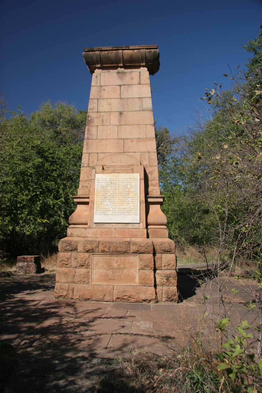 Some kind of memorial within the Vic Falls complex