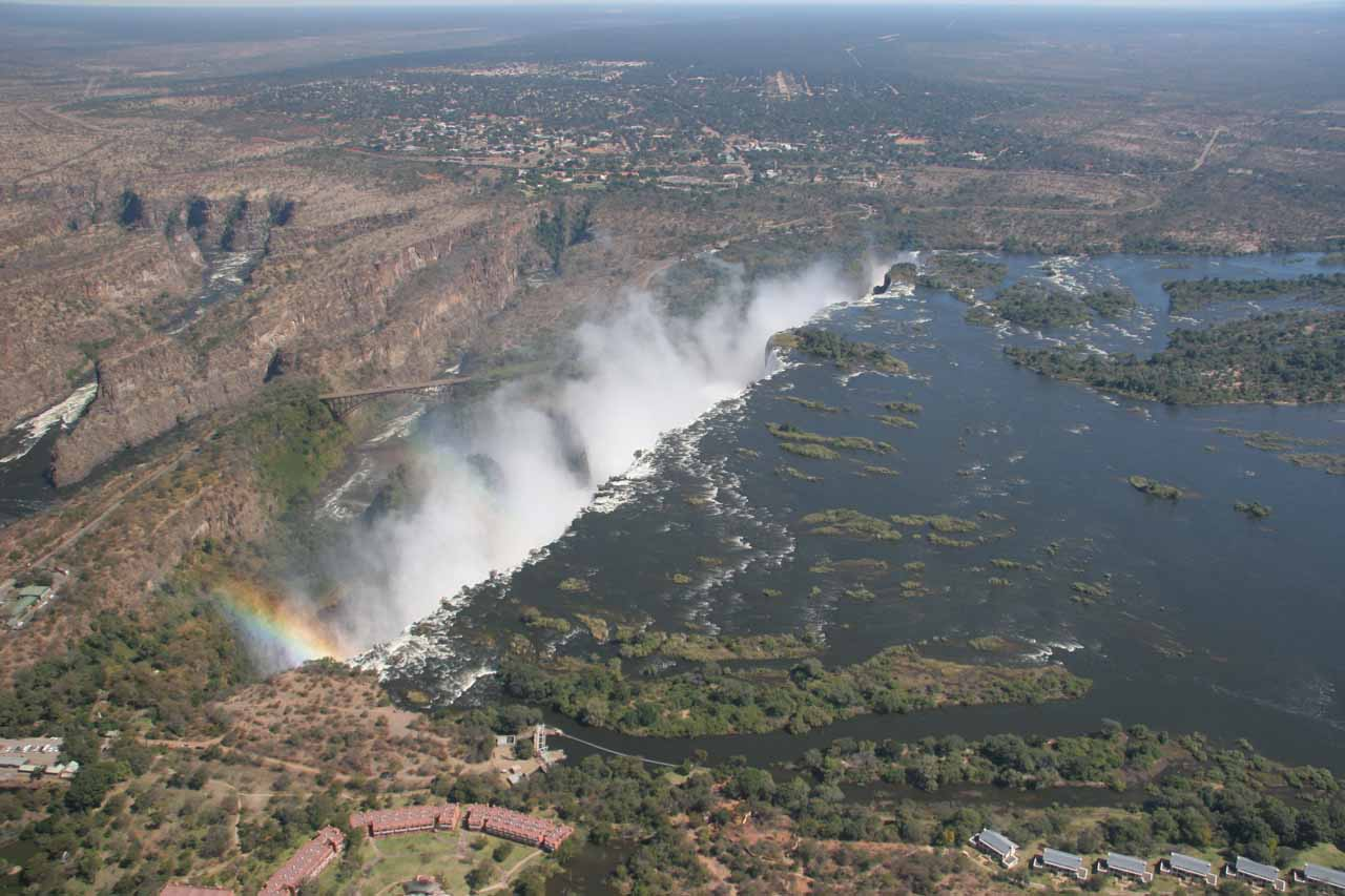About to fly over the precipice of Vic Falls