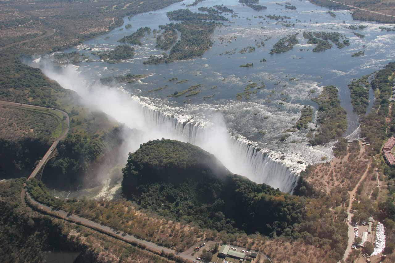 Angled aerial view of the falls