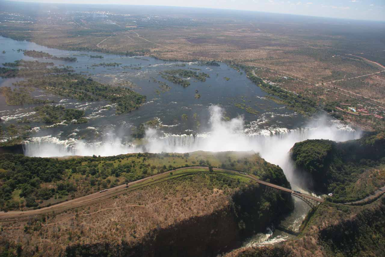 Appreciating the immense scale of Victoria Falls from the air