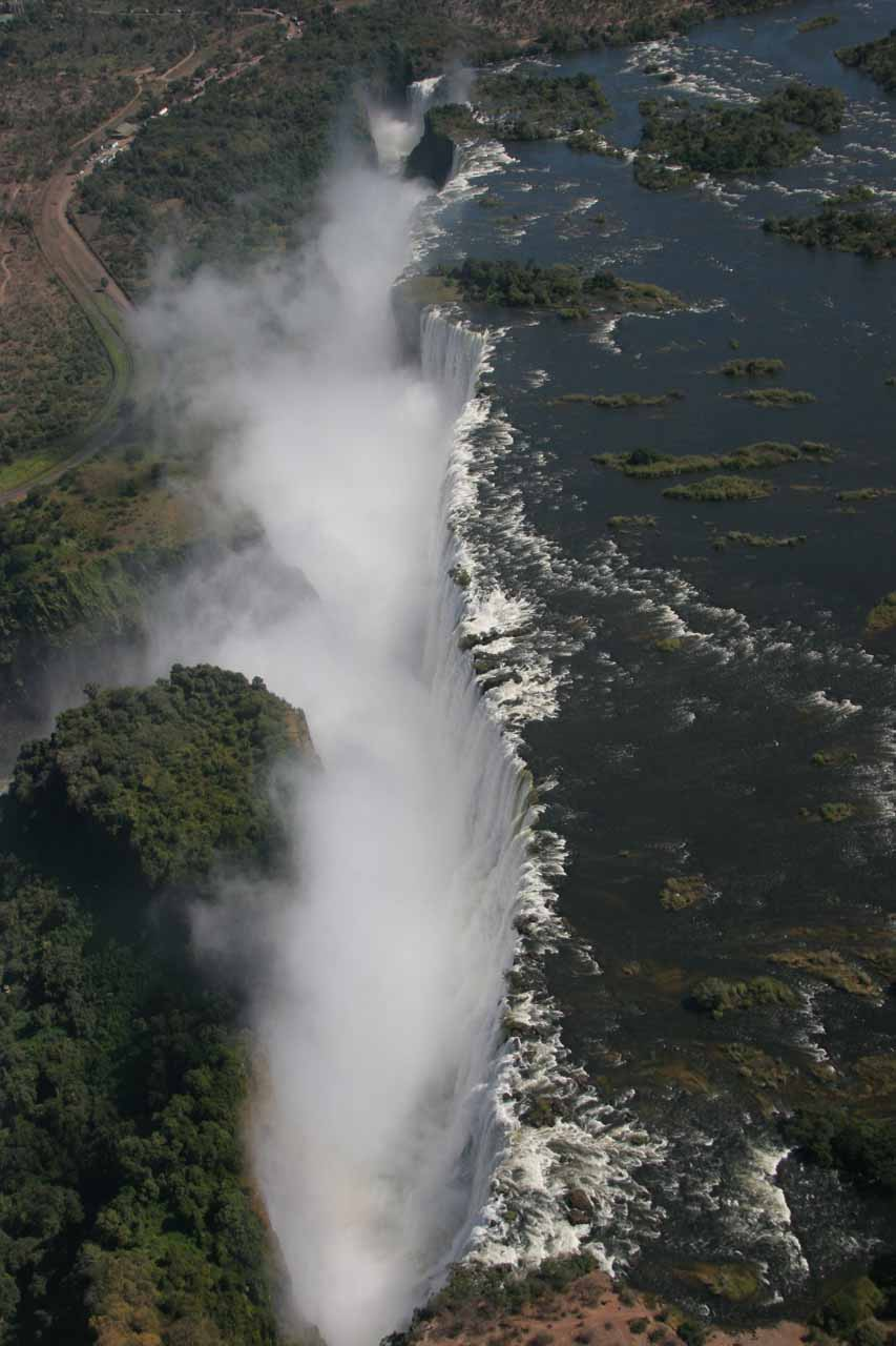 Aerial profile view from the Zambia side
