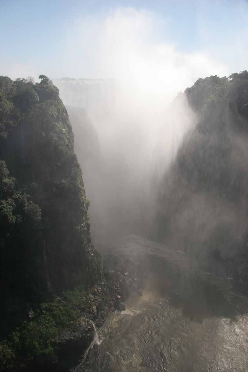 Under the high water conditions, we couldn't really see Victoria Falls from the Livingstone Memorial Bridge