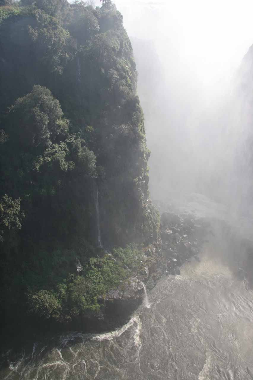 Smaller waterfall completely fed by Victoria Falls' mist