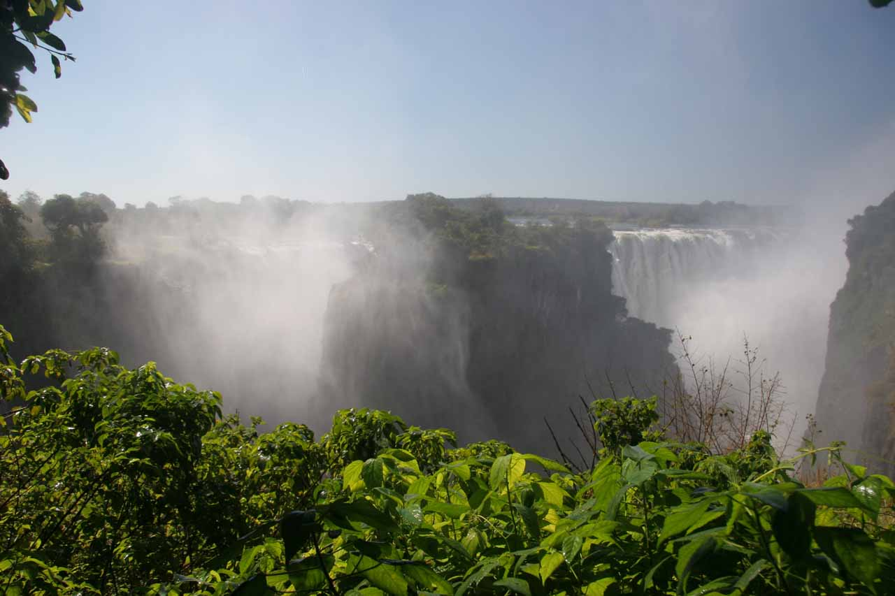 Segments of gushing waterfalls as seen from the Zimbabwe side
