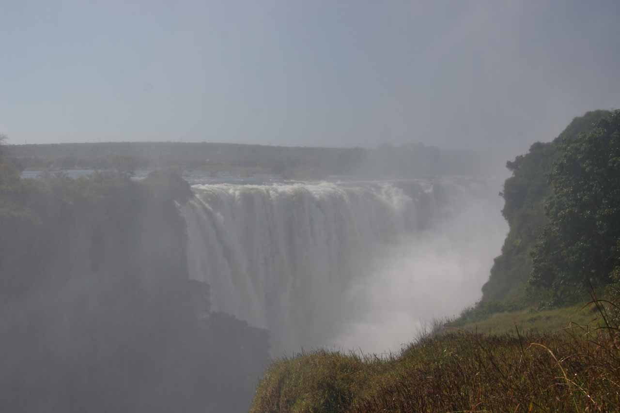 Very misty view of Victoria Falls