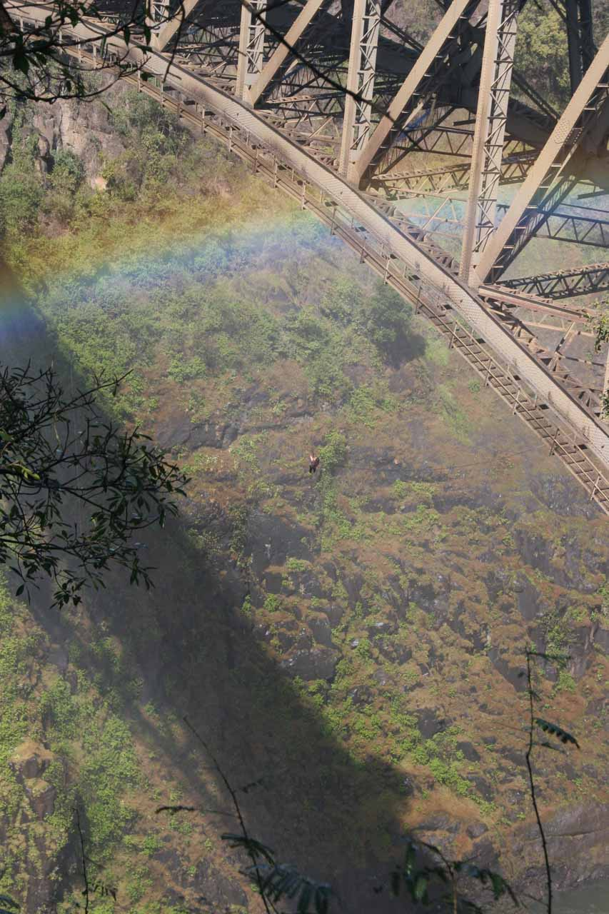 Imagine hanging upside down high above the gorge with mist from Victoria Falls spraying you