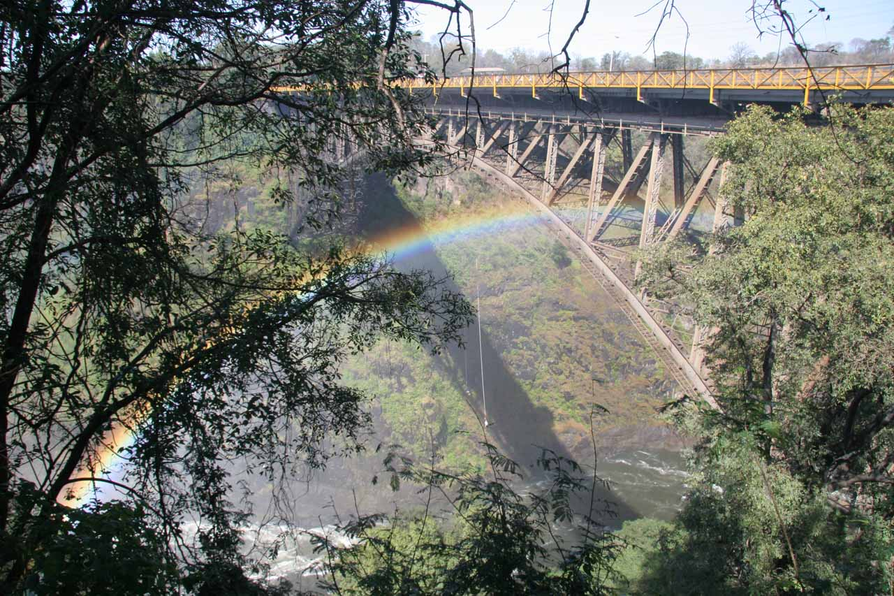 Bungy jumper off the Livingstone Bridge framed by a rainbow