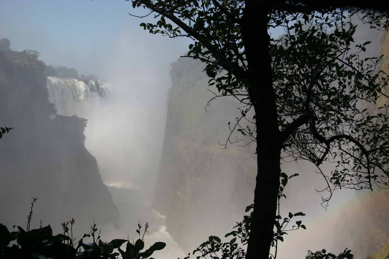 Victoria Falls seen edge-on from the Zimbabwe side