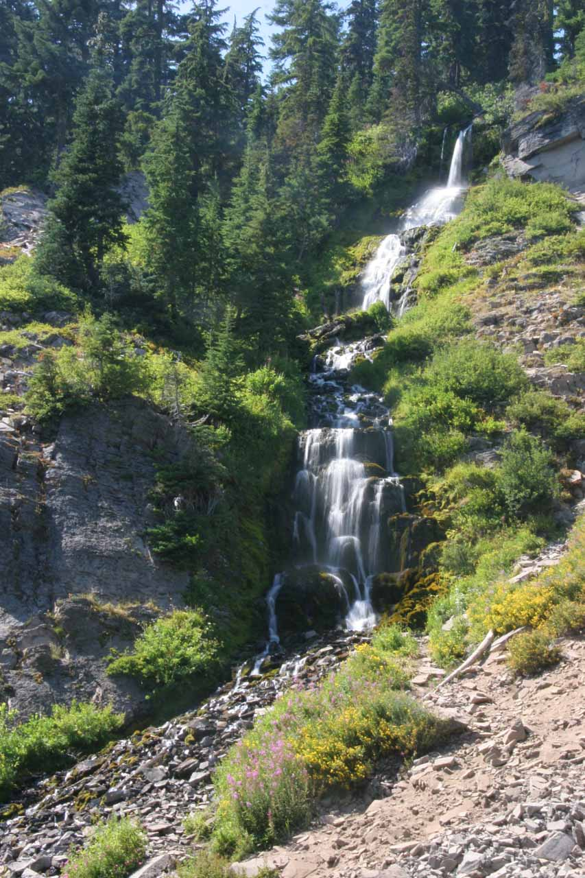 Vidae Falls shining in the late afternoon in late August 2009