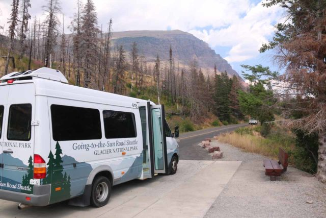 Virginia_and_St_Mary_Falls_012_08062017 - The Glacier National Park Shuttle stopping at the St Mary Falls Shuttle Stop