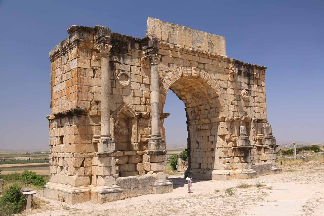 Heading towards the impressive Triumphal Arch in Volubilis
