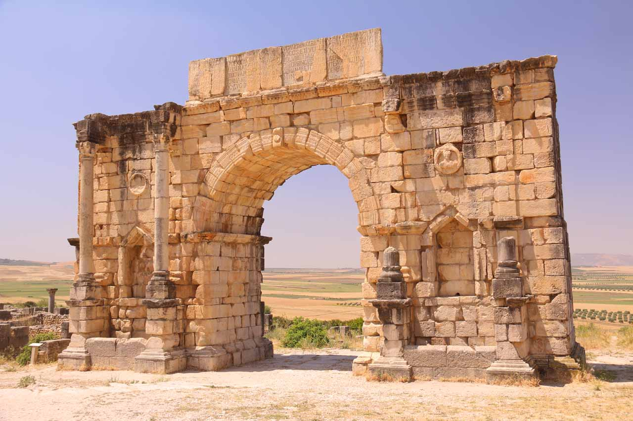 Frontal view of the Triumphal Arch at Volubilis