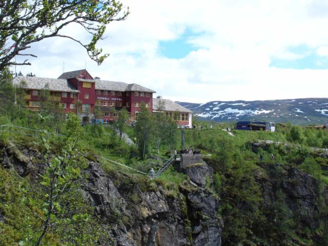 Voringsfossen_016_jx_06252005 - Looking back at the context of the Fossli Hotel and the precipitous cliffs and walkways overlooking Vøringsfossen. Notice how much less developed it was back in 2005 when this photo was taken compared to our 2019 photos!