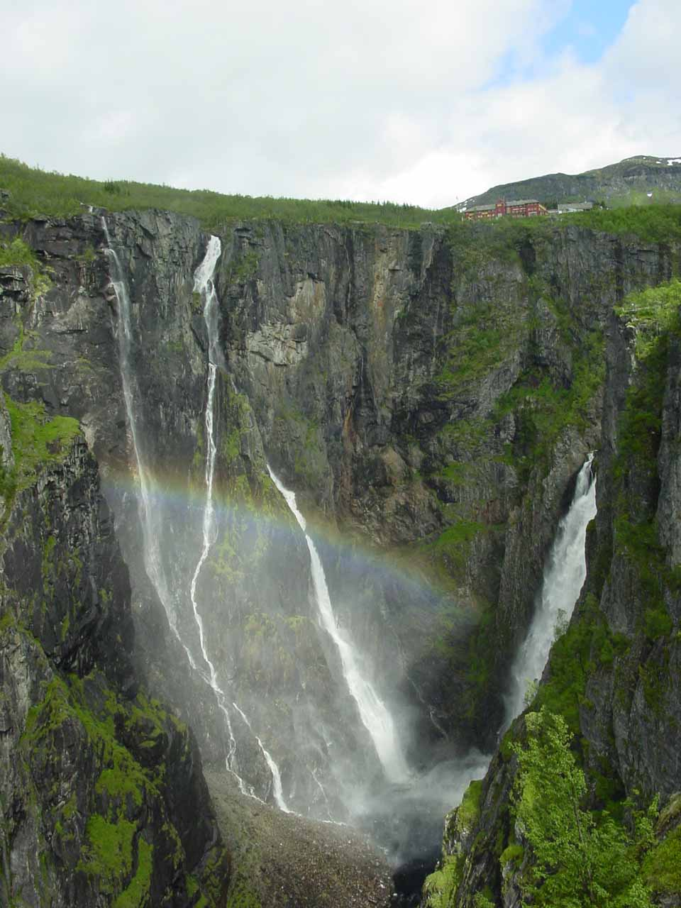 The Lower View of both Vøringsfossen (right) and Tysvikofossen (left) with a nice afternoon rainbow