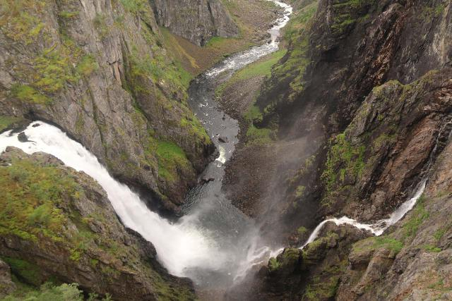 Voringsfossen_058_06242019 - Looking into the head of Måbødalen at the convergence of Vøringsfossen and Tysvikofossen.  If you compare this 2019 photo with the 2005 photo closer to the top of this page, you'll see that Tysvikofossen had significantly more volume back then than it did in this photo.  I'm not sure why, especially since our 2019 trip had plenty of rain