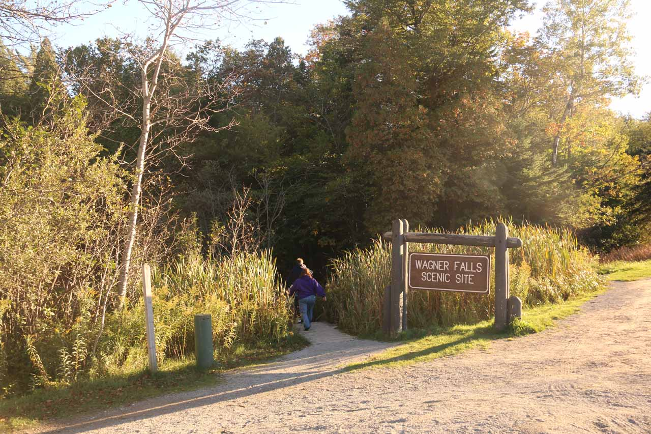 The roadside pullouts and trailhead for the Wagner Falls Scenic Site