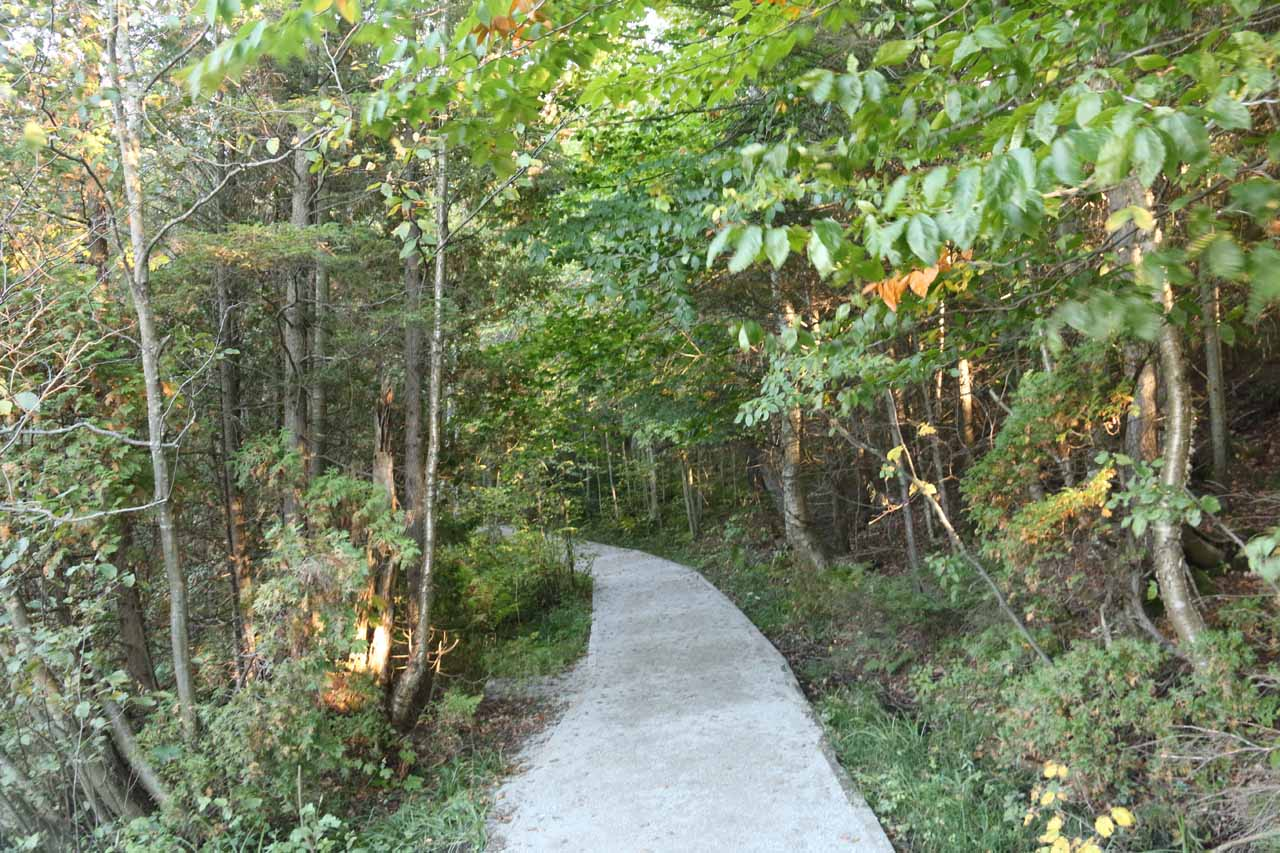 The well-developed and very easy short trail to Wagner Falls