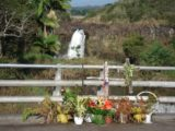 Waiale_Falls_006_jx_03092007 - During our first visit to this waterfall back in March 2007, someone had set up a flower memorial on the road bridge