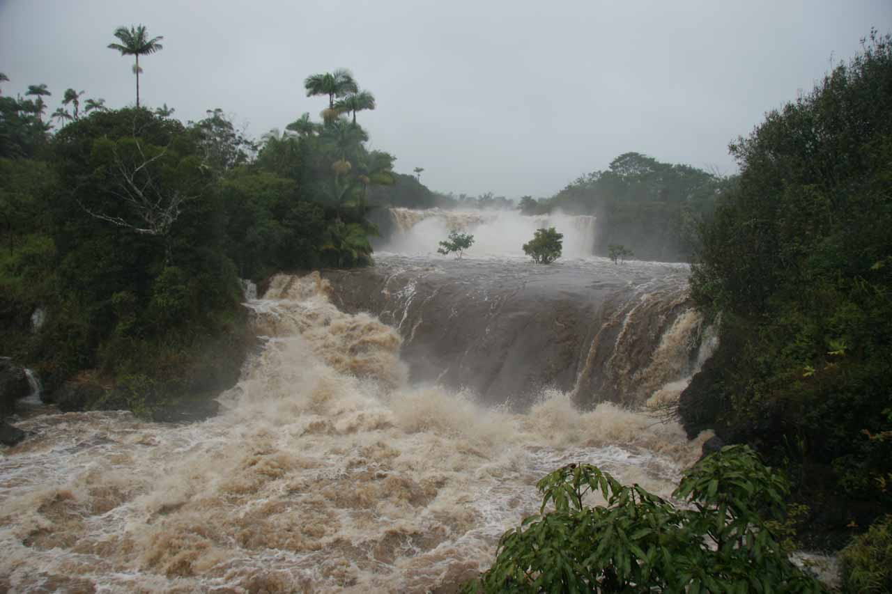 Wai'ale Falls in a very swollen state