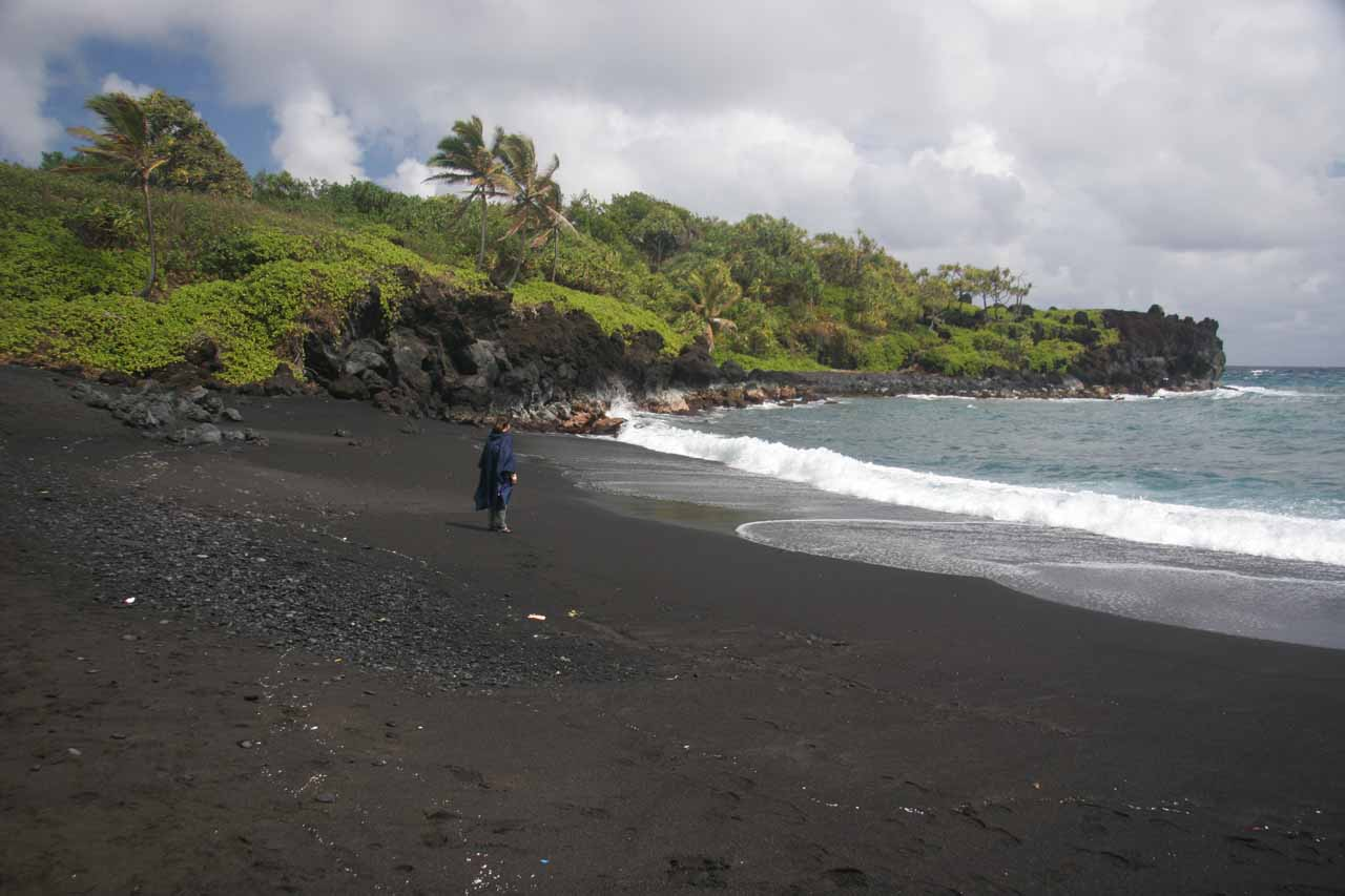 Julie at a black sand beach in Waianapanapa State Park
