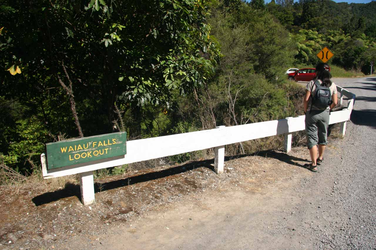 Julie about to follow the signposted path to the lookout for Waiau Falls