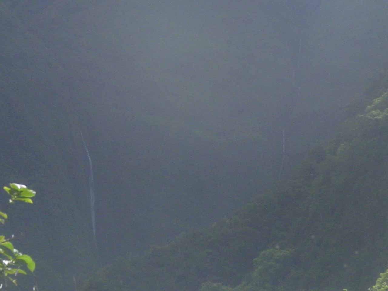 When we looked way in the distance as we were near Ali'ele Falls, we saw Mana-nole Falls deeper into Waihe'e Valley