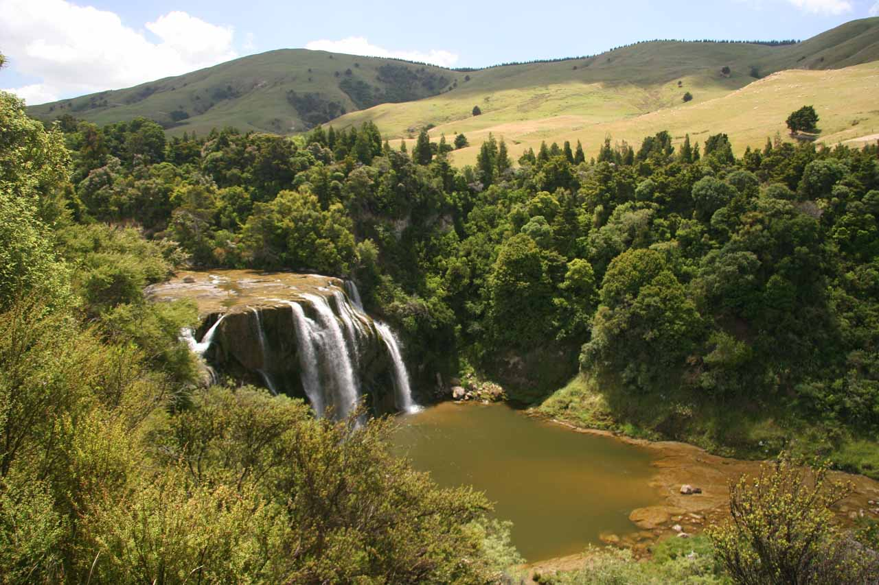 Our first look down at Waihi Falls from the car park area