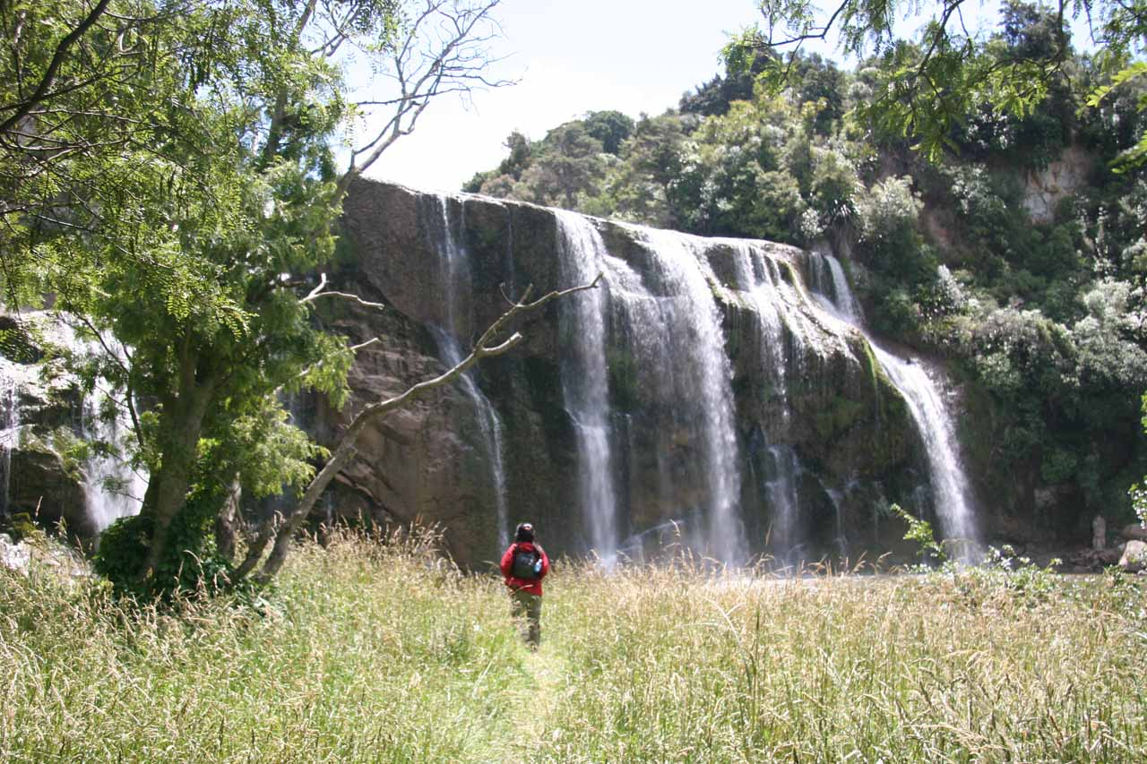Julie before the base of Waihi Falls