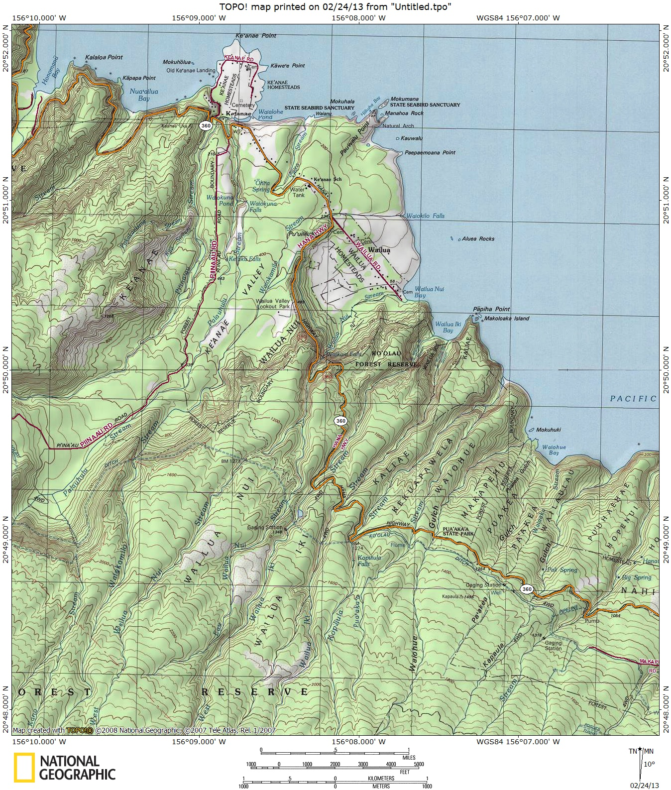 Wailua Iki Stream Map