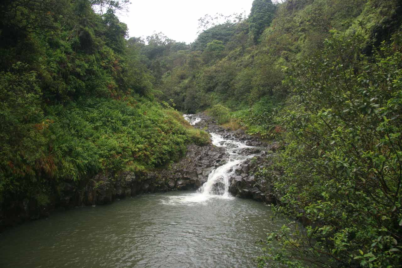 Cascade upstream from Lower Wailuaiki Falls