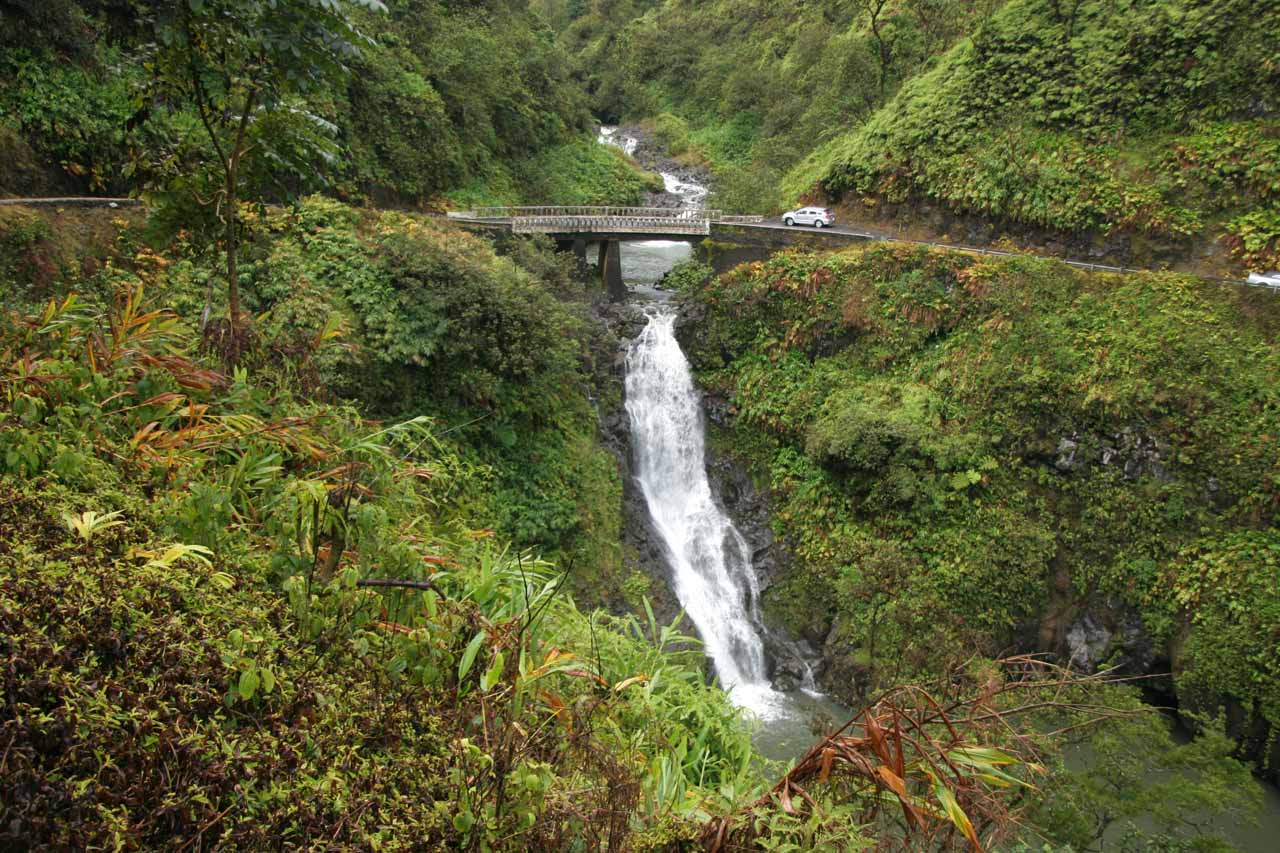 Wailuaiki Falls - one of many roadside waterfalls on the Hana Highway