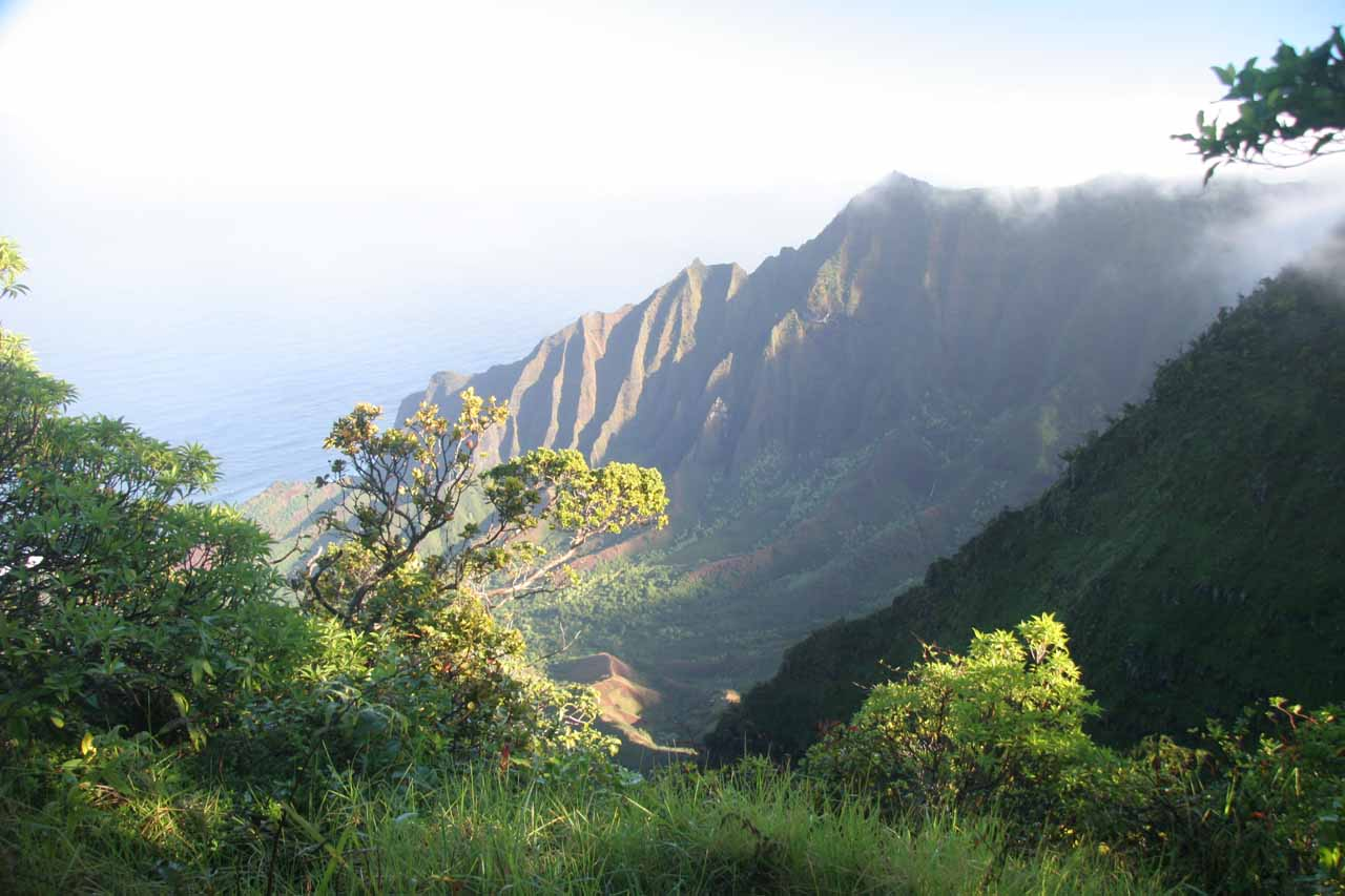 If you drive beyond Waimea Canyon, the road will eventually lead to the Kalalau Overlook, where you can get this view of the mysterious valley on the Na Pali Coast
