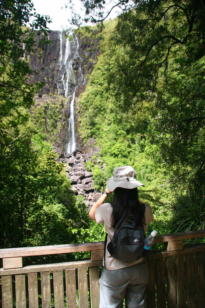 Five years later, Julie was back at the same spot checking out the Wairere Falls