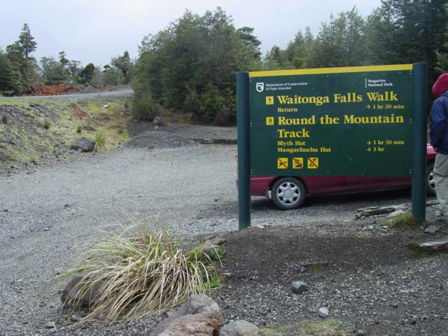 Waitonga_Falls_001_11162004 - The signed car park besides the Ohakune Mountain Road for Waitonga Falls